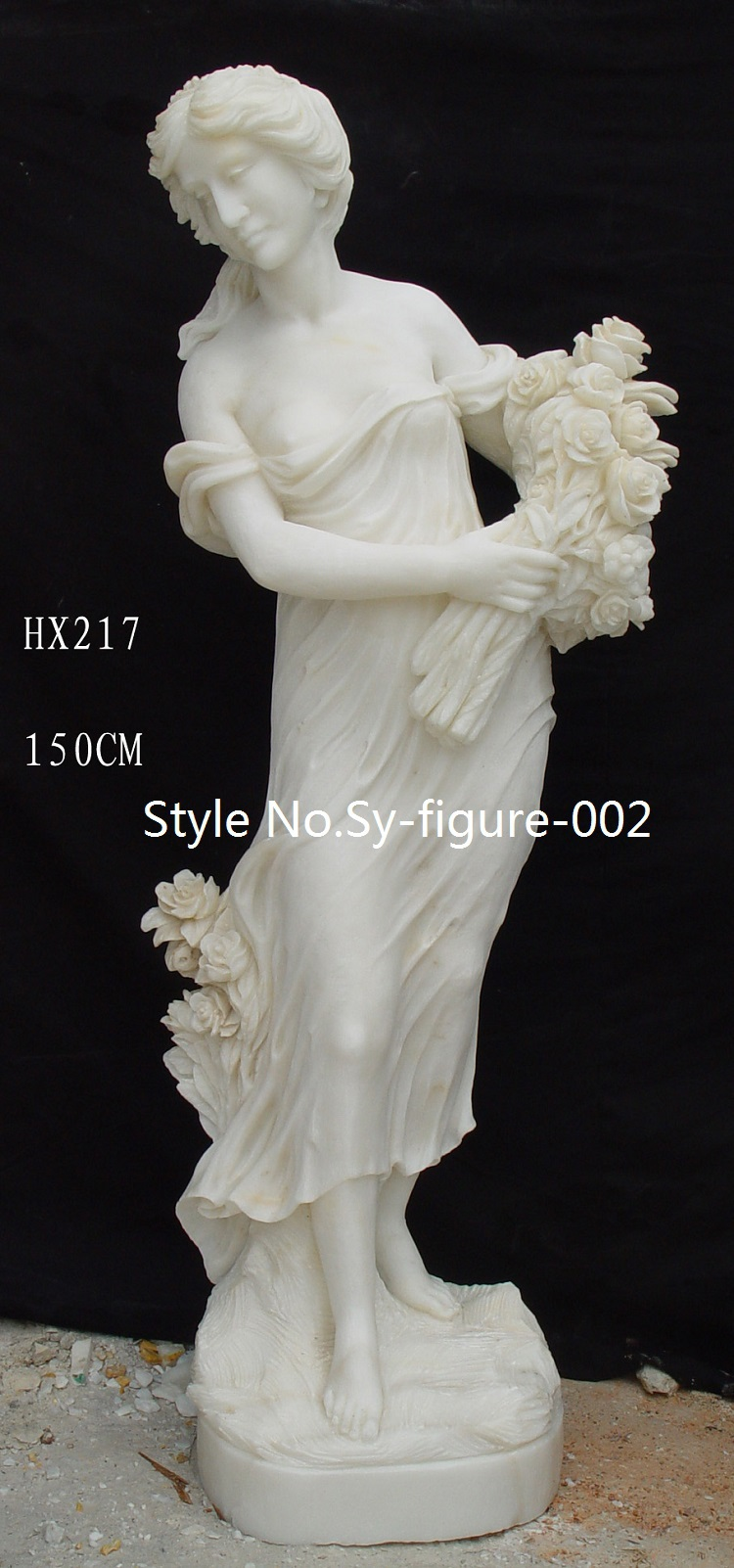 Antique Polished Life Size Hand Carved Female Marble
