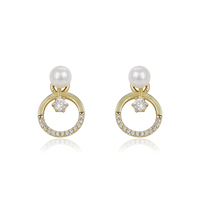 94064 xuping high quality crystal earrings, 14k gold color pearl stud earring designs