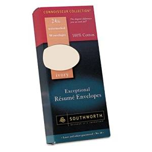 Southworth Company Products - Resume Envelopes, Laser/Inkjet, No 10, 24lb., 50/PK, Ivory - Sold as 1 BX - Exceptional Resume Envelopes are designed for use with Southworth Exceptional Resume Paper for a professional, organized and credible presentation. Made of 100 percent cotton. Acid-free paper