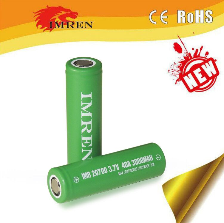 Big Sale!! IMREN 20700 3000mah rechargeable battery 3.7v 40amp li ion cells continuous 40A discharge