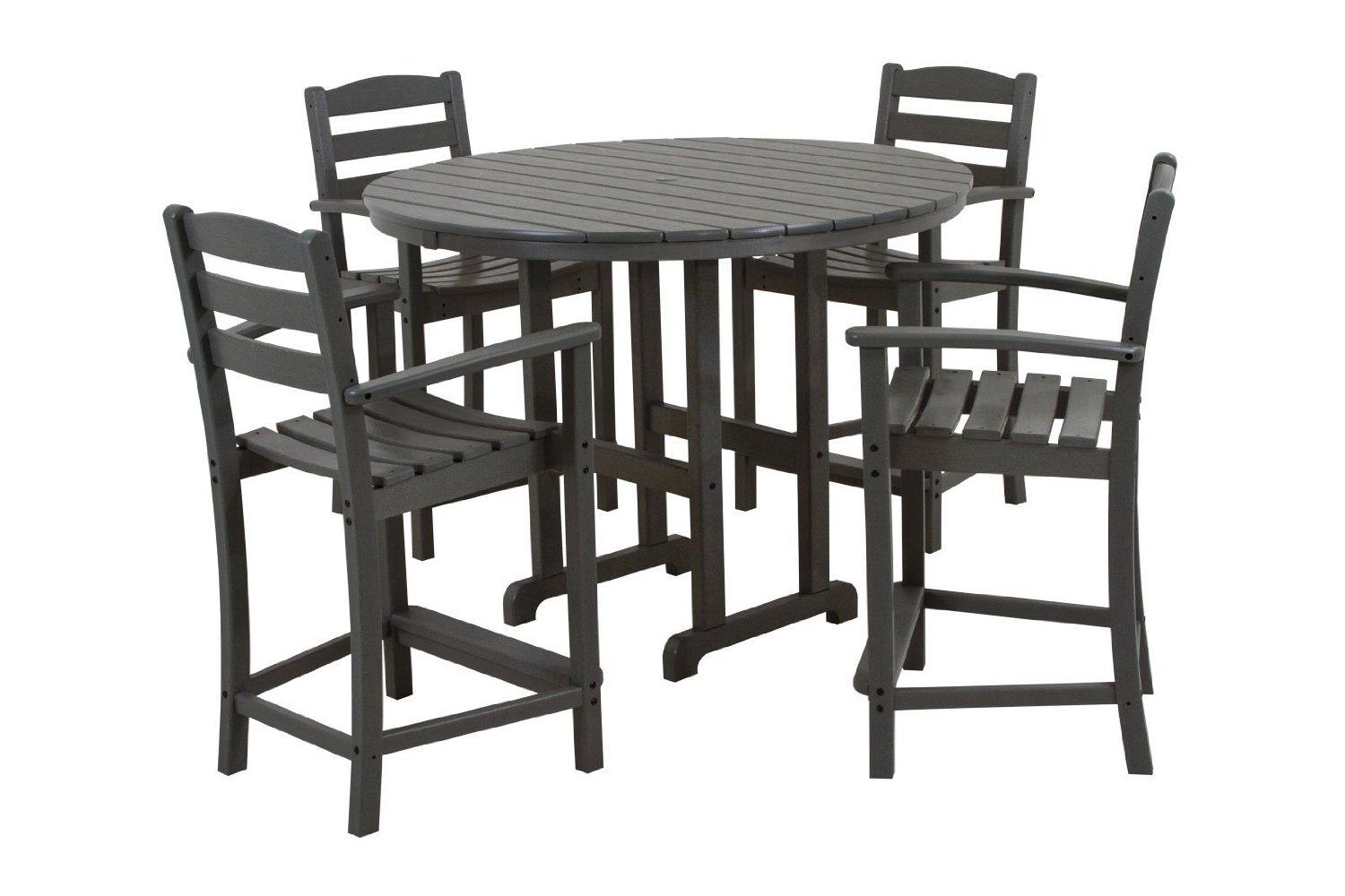 POLYWOOD PWS143-1-GY La Casa Café 5-Piece Counter Set with Table and Chair, Slate Grey