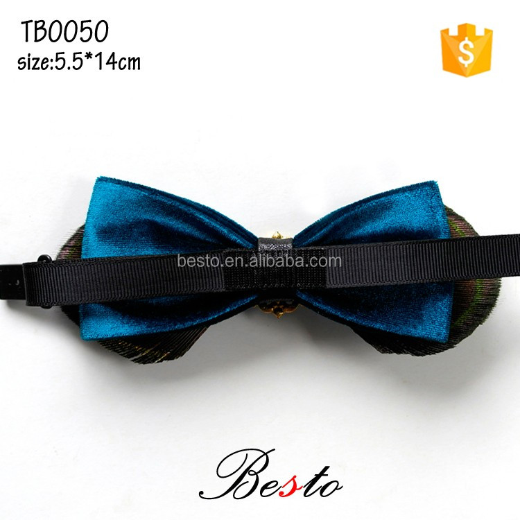 Men suits adjustable crystal center feather bow tie with band