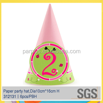 Glossy Lamination So Sweet 2nd Birthday Cone Hats
