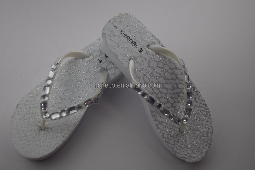 White Trendy Bridal High Heel Slippers Sandals