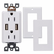 2.1A/4A USB Charger Wall Outlet plug Dual High Speed Duplex Receptacle 15 Amp