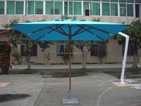 Outdoor table and chair with uv protect big wood umbrella