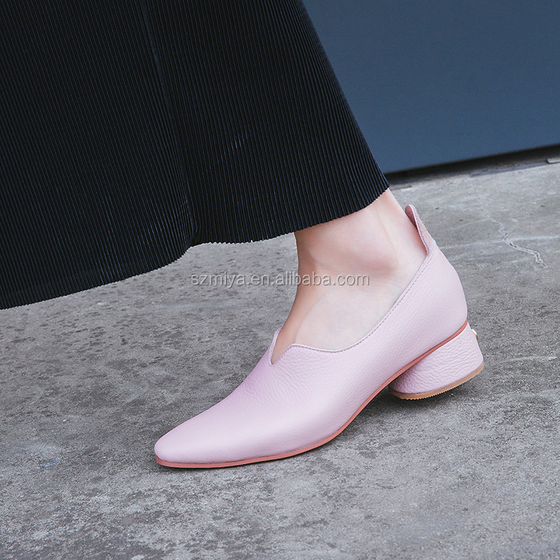 leather thick shoes sexy women heel genuine shoes 2018 low aR1pnq