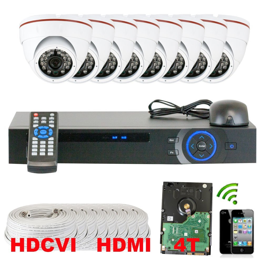 Best Sale High End Professional 8 Channel HD-CVI DVR Security Camera System with 8 x 1/2.9 HDCVI Color IR CCTV Security Camera, 1.0Mega pixel Color CMOS, 3.6mm Lens, 24PCS Infrared LED, 49 feet IR distance. 1080p real time preview, 720P realtime recording. iPhone, Android Viewing. Network live,