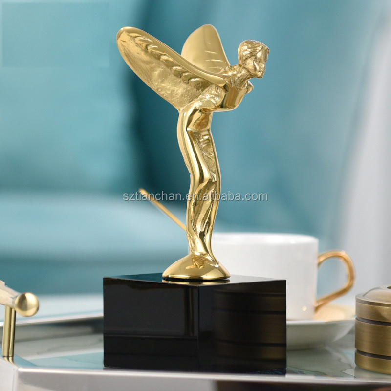 Custom engraving bronze angel statue manufacturer professionally metal trophy cups high quality metal trophy