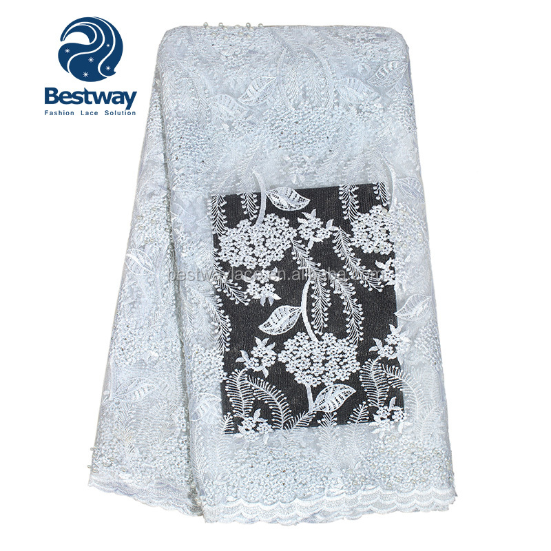 Factory supply handwork mesh lace white embroidery tulle fabric beaded french lace for african wedding dress