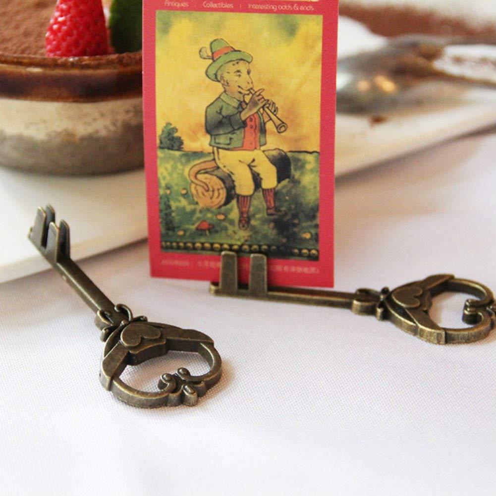 AKOAK 2 Pcs/Pack Creative Retro Key Metal Craft Memo Notes Holders Message Photo Clip Holders