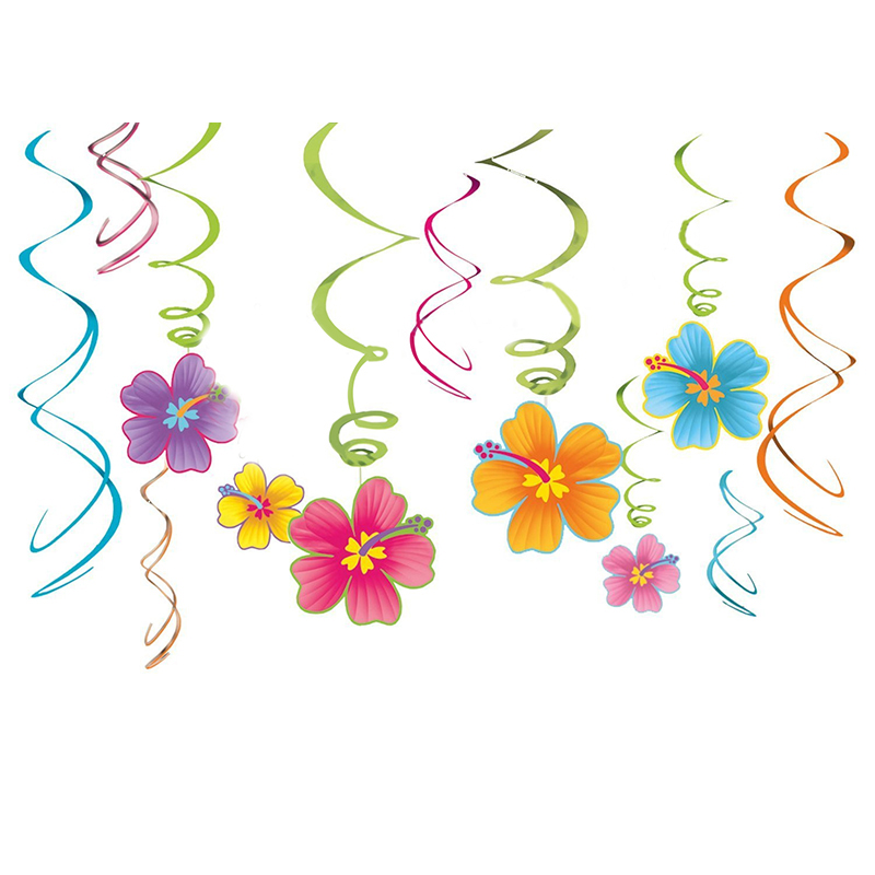 FengRise Hawaiian Party Huau Swirl Hanging Decoration Flower Swirls