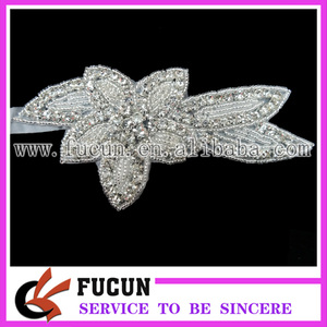 Beaded Applique Wholesale Bridal Rhinestone Flower Appliques hand embroidery designs