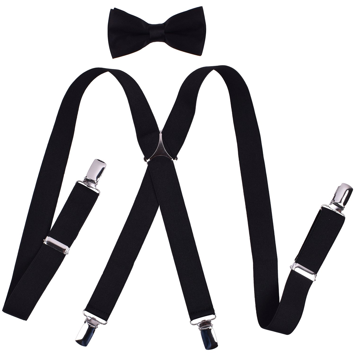 9a3eb8e1b18 Get Quotations · Mens Suspenders and Bow Tie Set Work Trouser Braces for  Party Tuxedo Solid Color