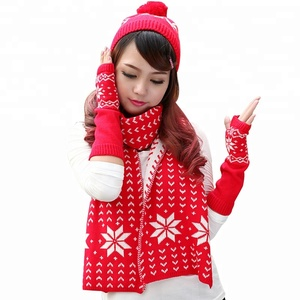 Fashion Design Wholesale Knitted Hat Scarf Glove Set for Adult