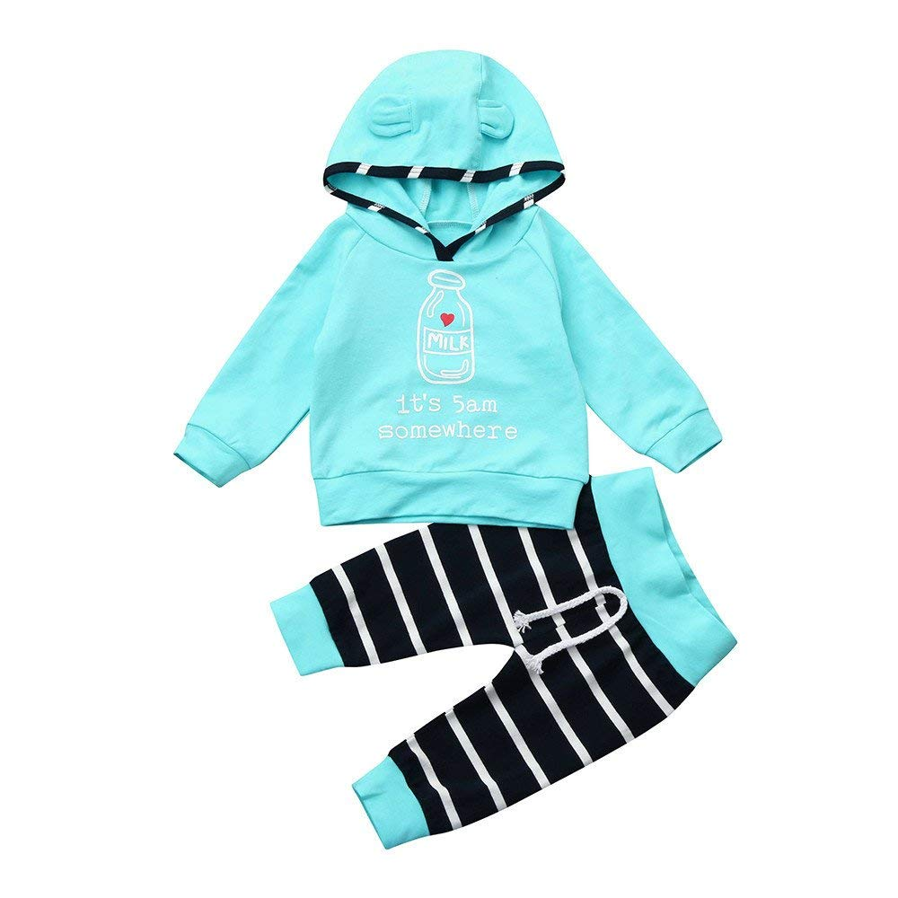 Yihaojia 2Pcs Winter Cotton Clothes Set Newborn Infant Baby Boy Girl Milk Striped Hooded Tops+Pants Outfits 3-18M (age: 10-12 month, Blue)