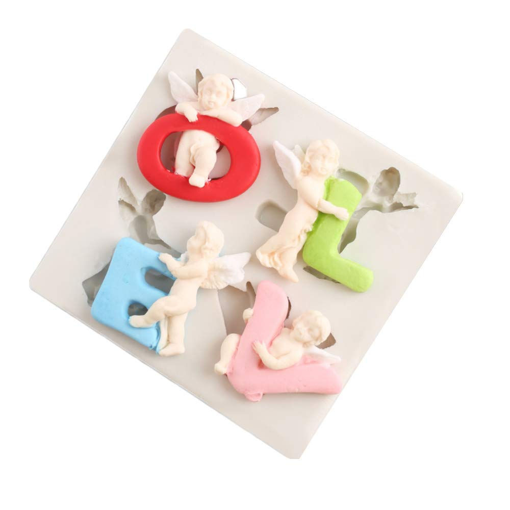 Angel Baby LOVE Silicone Fandant Molds Candy Chololate Clay Making Tools Cupcake Decoration for Baby Birthday Party Cake Cookie Decoration, Wedding Party
