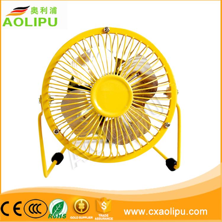 Approvazione di RoHS usb mini ventilatore regali promozionali in metallo 4 inch scrivania ventilatore usb portatile