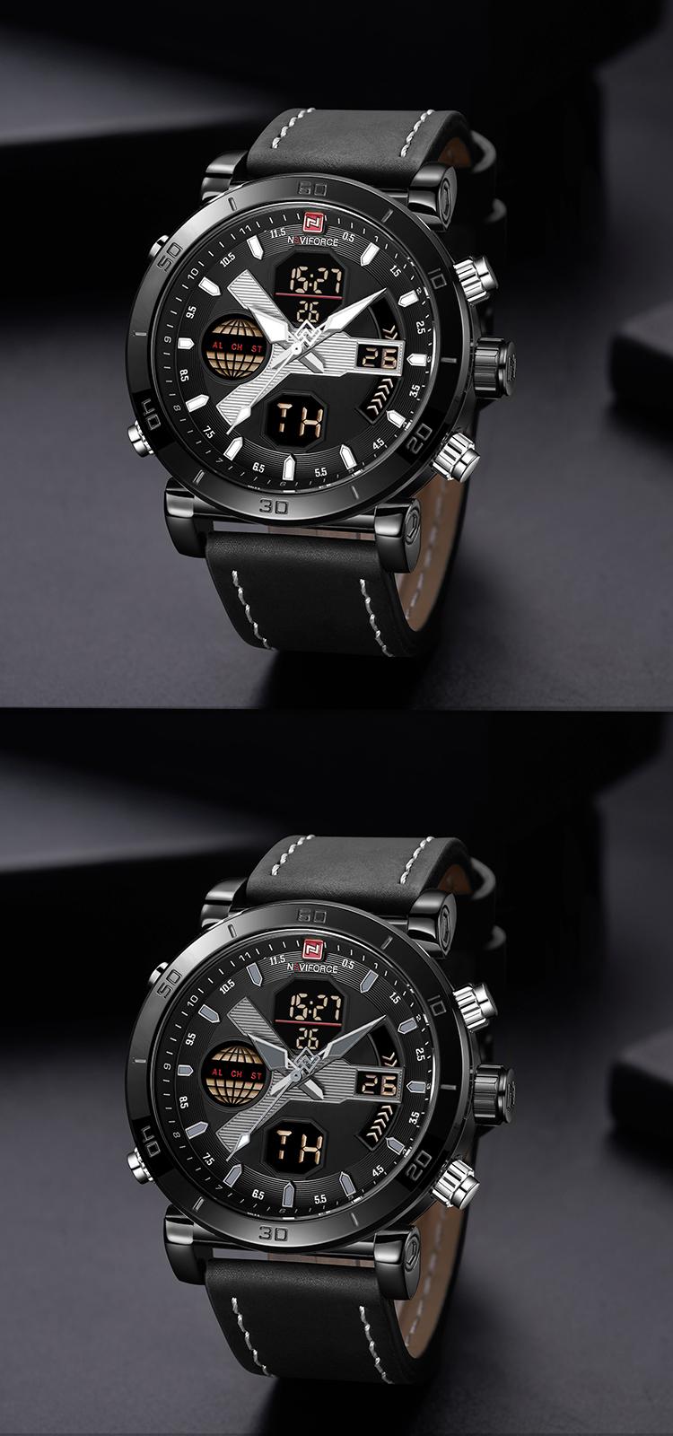 461be761a14e Naviforce 9132 relojes para hombre de lujo doble de tiempo fecha Día reloj  de cuarzo Digital
