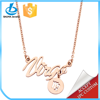 Wholesale Women Stainless Steel Horoscope Astrology Zodiac Sign