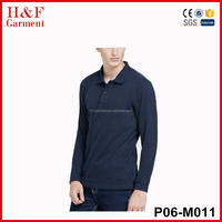 Wholesale Cheap Man Tshirts 100% Cotton Long Sleeve Polo T Shirt Bulk Blank Colorful Mens Polo Shirt In Navy