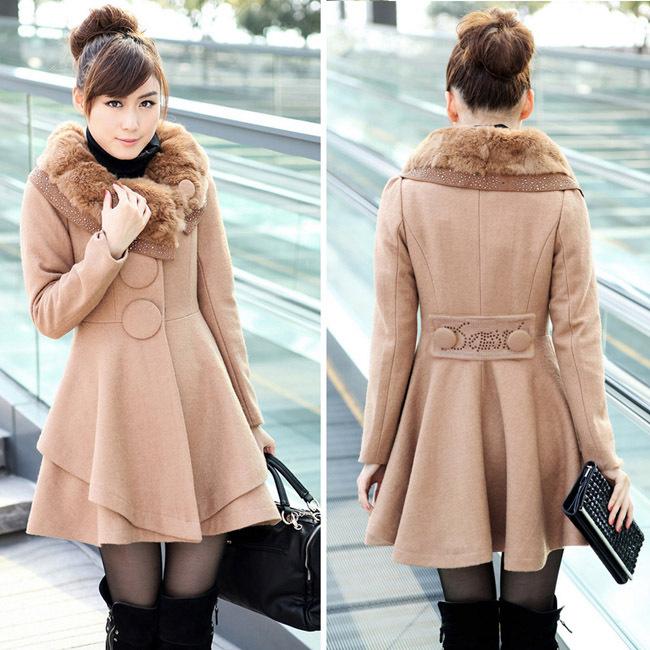 hot femmes slim long manteau de fourrure de lapin collier chaud veste de laine black camel red. Black Bedroom Furniture Sets. Home Design Ideas