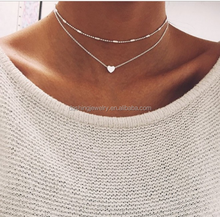 2017 Simple Gold Color Love Heart Choker Necklace For Women Multi Layer Beads Chocker Necklaces for girlfriend