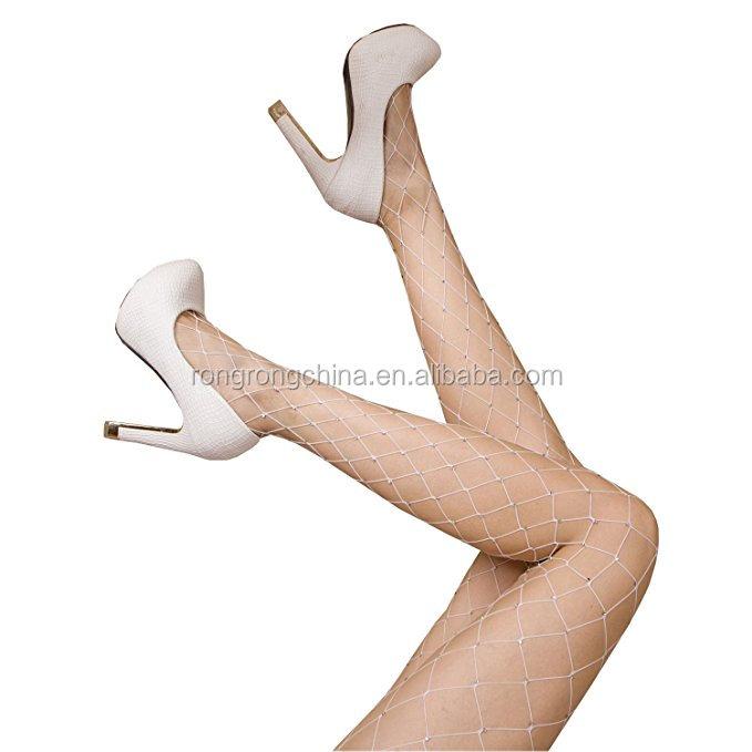 819f467d9d5f2 Women Hot Chic Vintage White Big Cross Fishnet Tights Sheer Seamless Nylon  Large Mesh Stockings Pantyhose