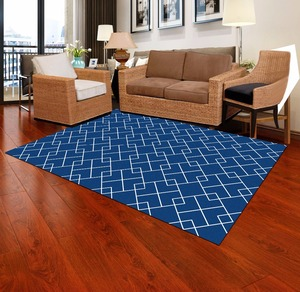 Custom size carpet printed foot mats ground mat floor carpet blue yellow wave diamond plate for living room or bathroom