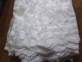 White Beaded Wedding Dress Lace Fabric