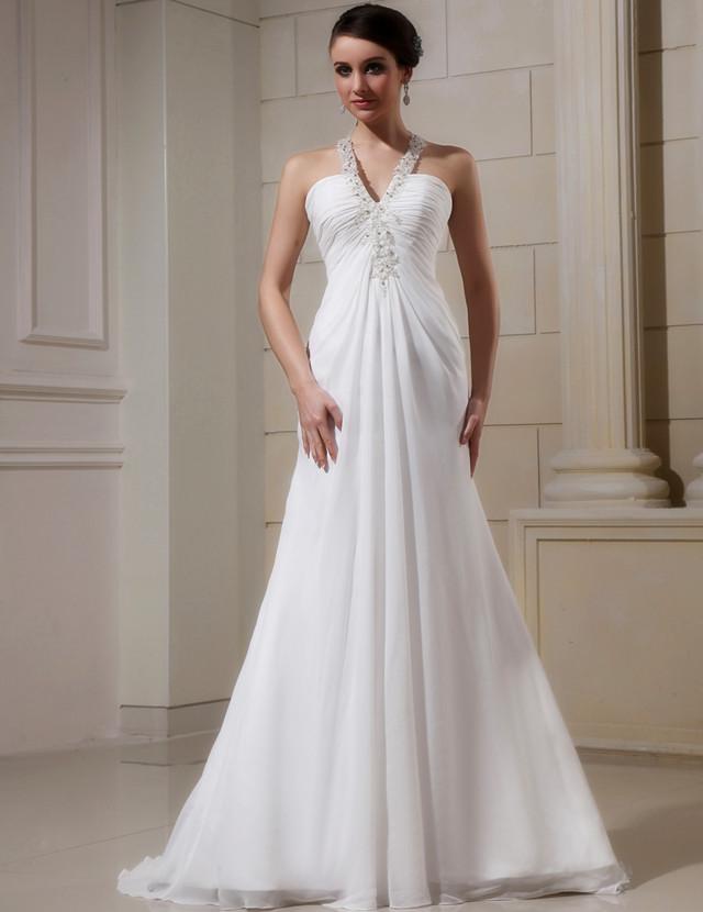 c0337c389 WD010 China Suzhou novia vestido Halter con reborde Simple y barato vestidos  de novia vestido de