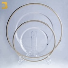 13 inch clear charger glass plate set catering wedding gold rim crystal glass dinner plate