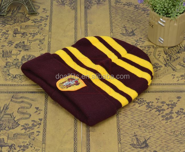 Harry Potter Slytherin Stripes Knit Beanie Hat Cap Deathly Hallows Costume china