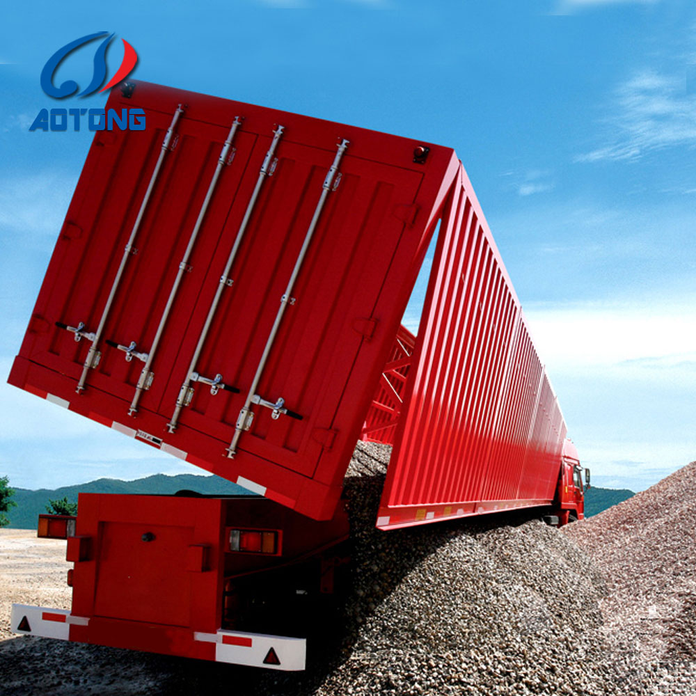 heavy duty 3 Axles 60ton Hydraulic Cylinder side Dump semi trailer/tipper Trailer For Sale