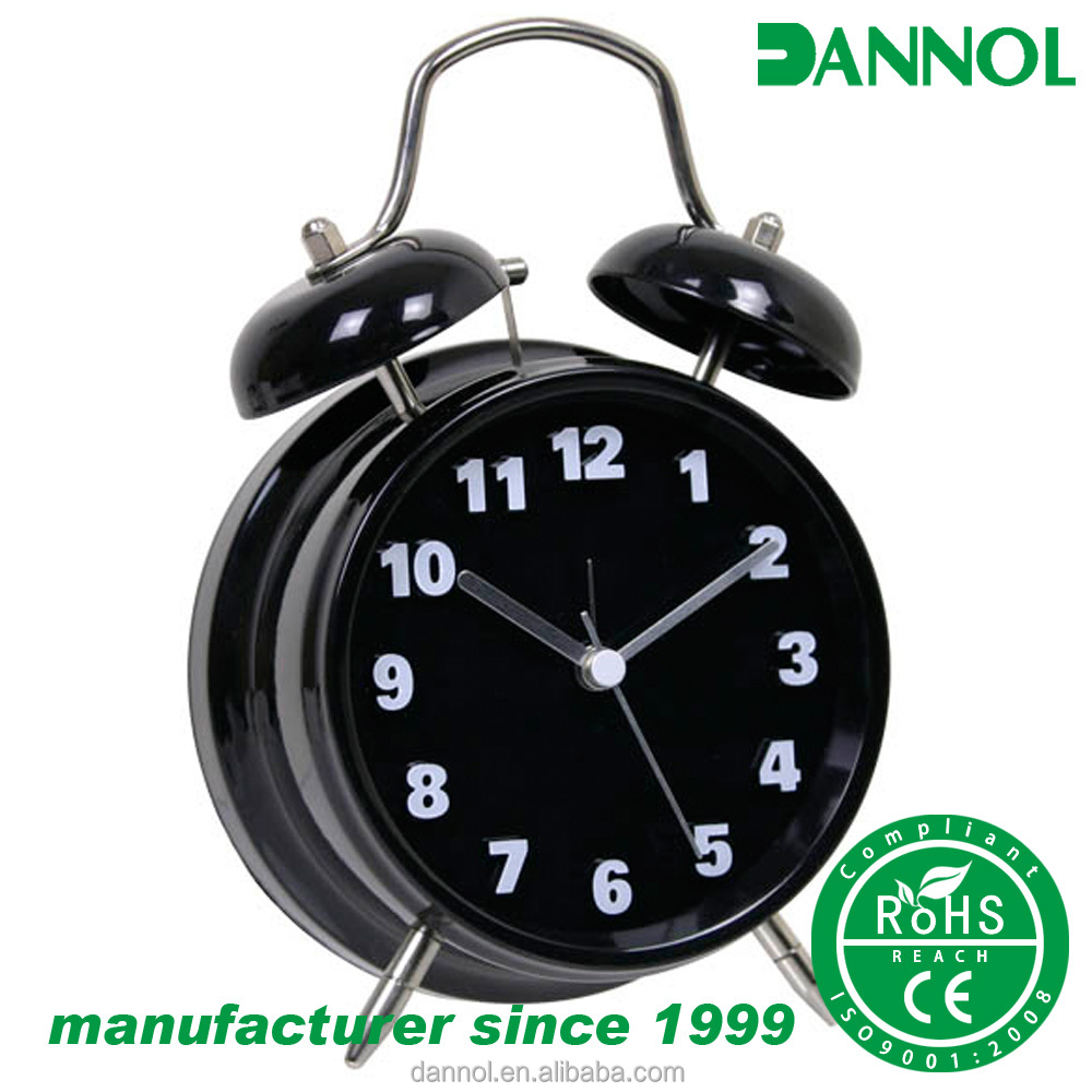 guangzhou 4 inch stylish 3d double bell home goods metal table alarm clock wholesale