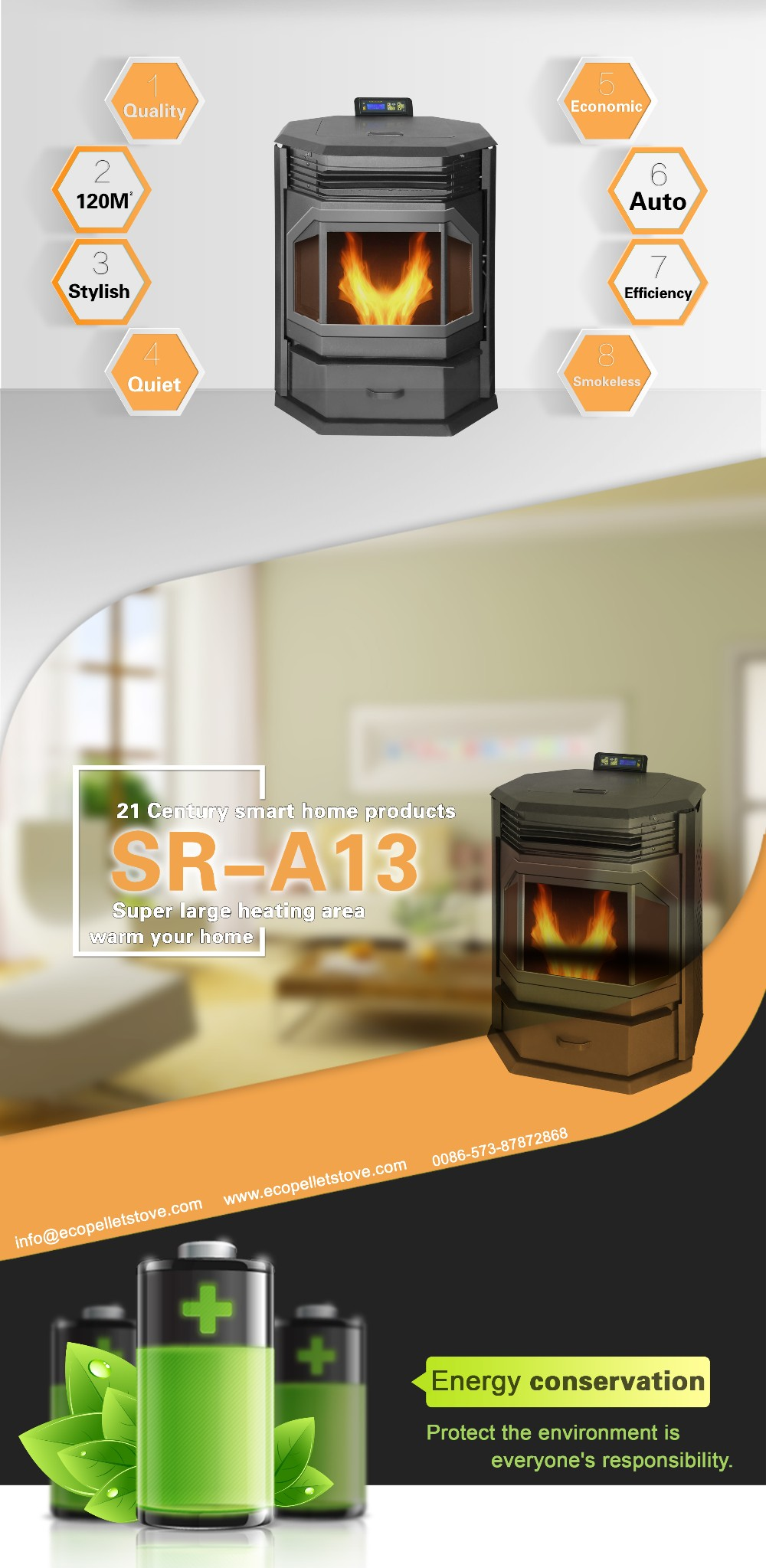 13 Kw Remote Control Ventless Pellet Stove With Multi Fuel ...