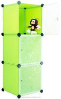 Eco-friendly & waterproof DIY plastic storage 3 cubes with door