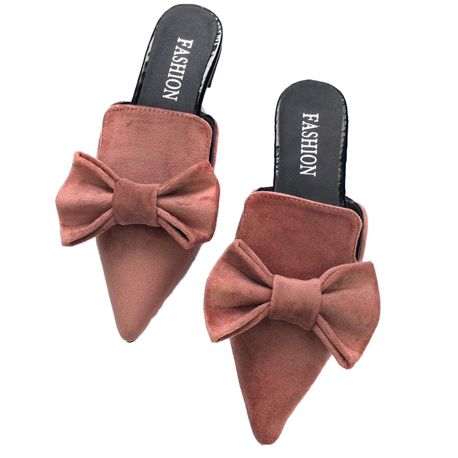 eb81faf3674 Get Quotations · Luobote Women Flat Sandals Bow Flat Sandals Point Toe Flat  Sandals Sexy Mules
