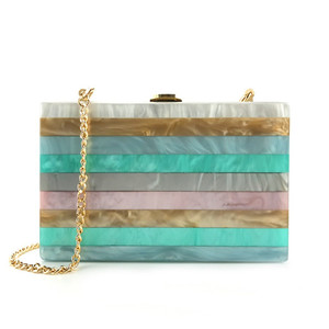 western fashion 7 color women bling party summer fancy marble stripe acrylic purse evening bag clutch