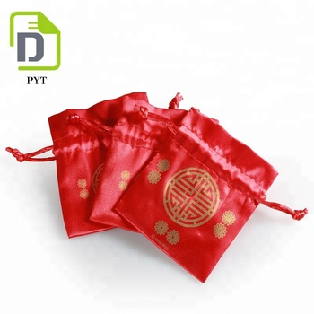 China traditional red wedding candy stain packing bag lucky satin pouches small drawstring bag
