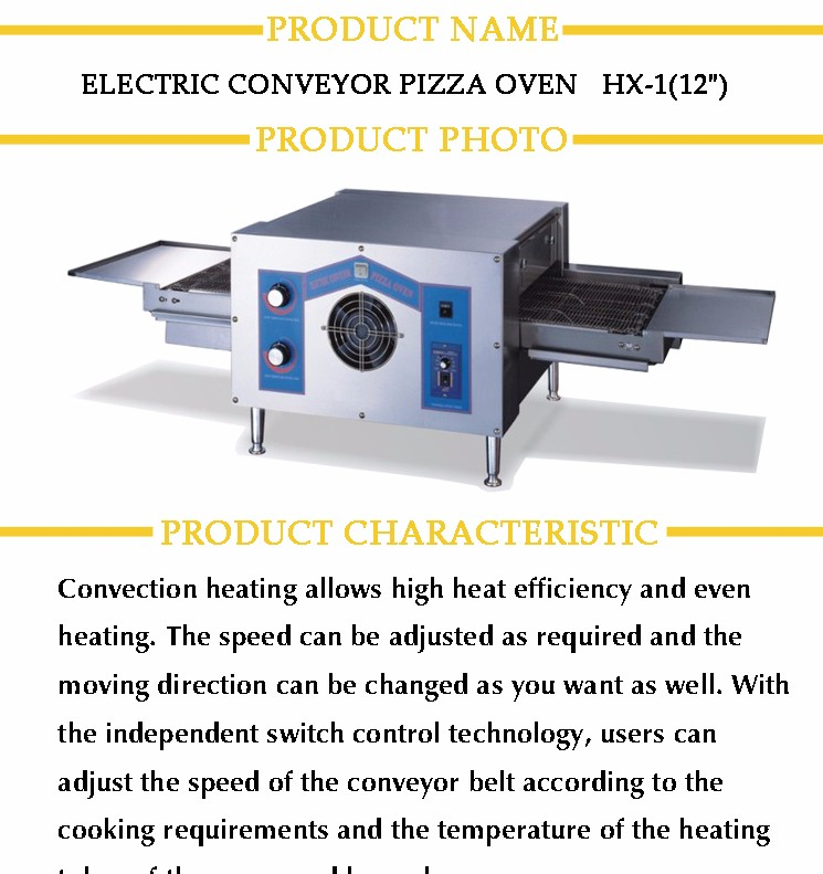 High Efficiency User Friendly CE Approved Single Deck Conveyor Pizza Oven