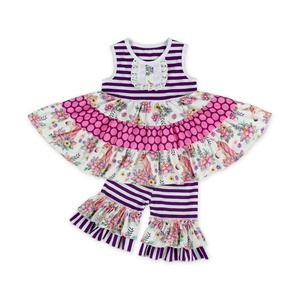 Sweet Baby Infant sleeveless Frilly Blouse printing Top set and stripe  Ruffled pants Soft Baby Girl fe3e407e39f4