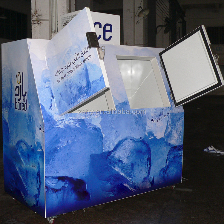 sloping bagged ice storage bin ice refrigerator for ice shop usage
