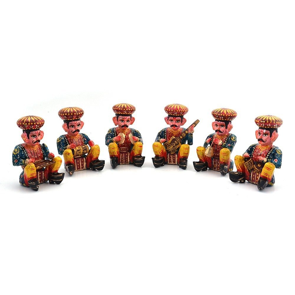 Little India Rajasthani Wooden Musician Bawla Set Set Of 6 Brown