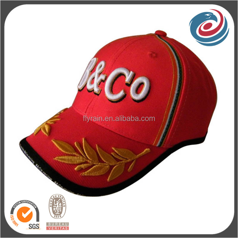 red six panels army style embroidery baseball hat