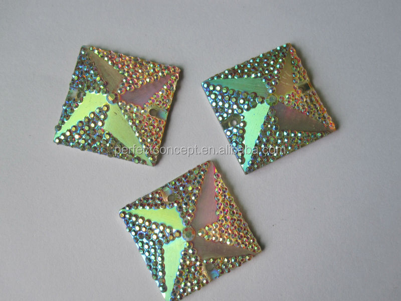 wholesale 24*24mm plated transparent painted back flat back square resin stones for bags clothes