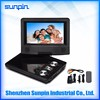 Qaulity 7 inch portable LCD DVD Player for Home and travel with TV Radio USB