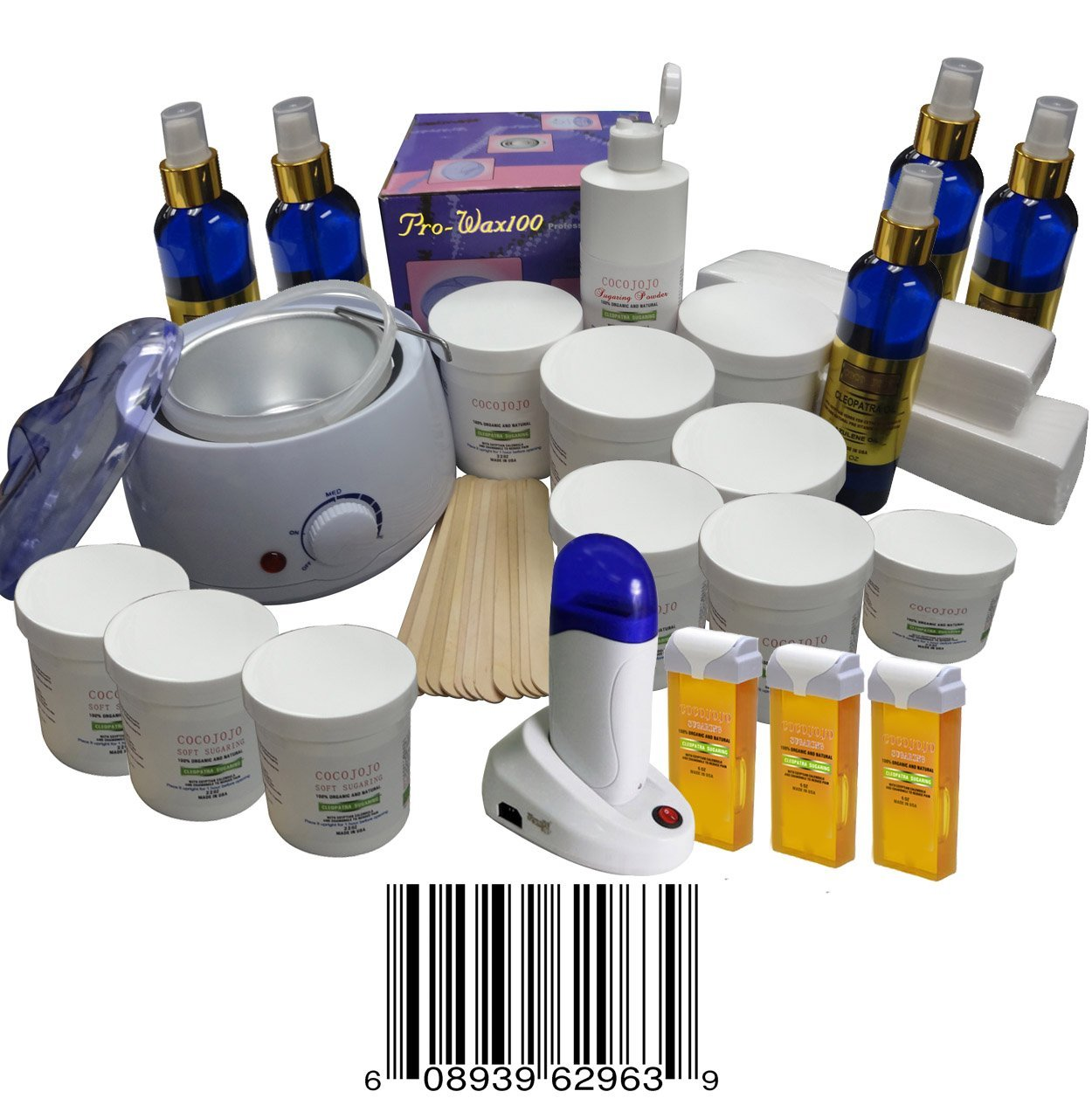 Super Saving Start up Kit, Threading Electric Kit + Sugaring Wax Warmer + Sugaring Cartridge Warmer + 6 Standard Sugaring 22 Oz (Standard Sugaring to Use with Hands or Spatula or Strips) + 3 Soft Sugaring 22 Oz Jar (Soft Sugaring to Use with Strips) + 3 Soft Sugaring 5 Oz Cartridge (Soft Sugaring