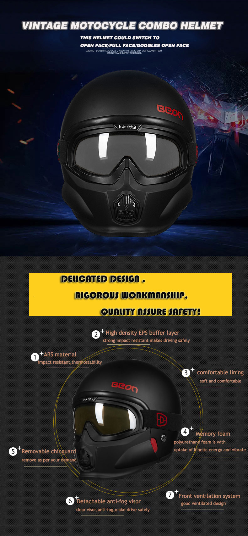 2018 BEON matte black full face motorcycle helmet ECE DOTopen face motorcycle helmet with removable goggles and chinguard