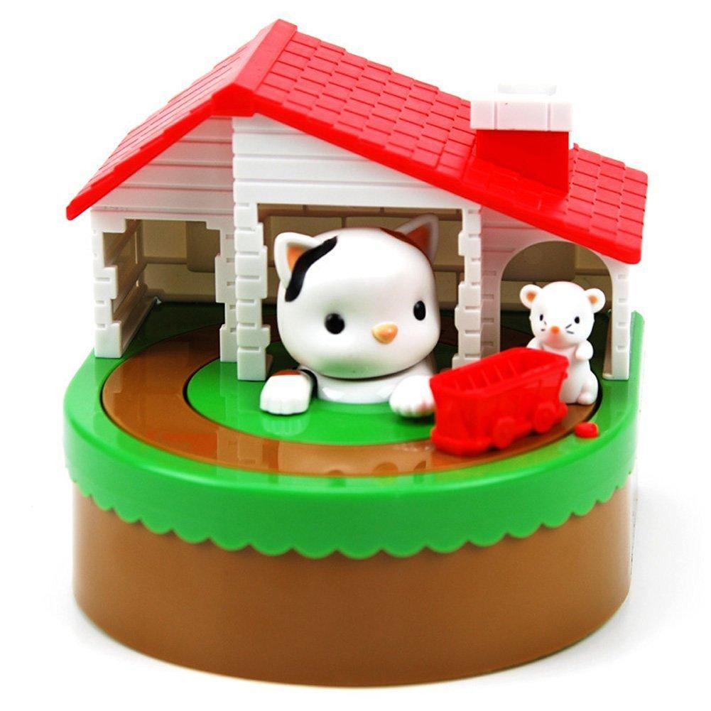 LUNANKA Cute Cat& Mouse Stealing Coin Bank with Sounds Saving Pot Cartoon Coin Bank Kids Toy